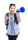 Asian female traveler yell with megaphone — 图库照片