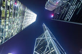 Hong Kong at night, view from below — Stock Photo