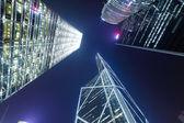 Hong Kong at night, view from below — Stock Photo
