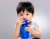 Boy drink water bottle — Stock Photo