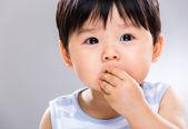 Little boy eat cookie — Photo