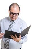 Businessman shock with document — Stock Photo