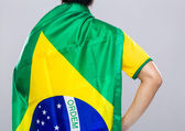 Backview of sportman wear with Brazil flag — Stock Photo