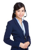 Customer service operator with headset — Stock Photo