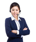 Call center operator business woman — Stock fotografie