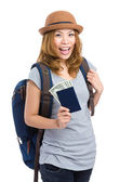 Happy woman with passort and cash — Stock Photo