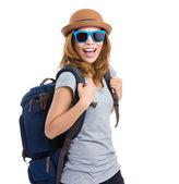 Happy woman with sunglasses — Stock Photo