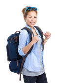 Woman with backpack and sunglasses — Stock Photo