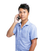 Asian man talk to mobile phone — Stock Photo
