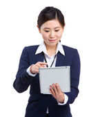 Asian business woman use digital tablet — Stock Photo