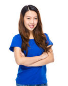 Asian young woman portarit cross arm — Stock Photo