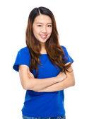 Asian young woman portarit cross arm — Stock Photo