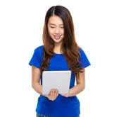 Woman look at digital tablet — Stock Photo