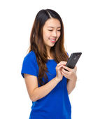 Asian woman read message on mobile phone — Stock Photo