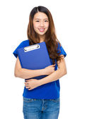 Asian young woman with clipboard — ストック写真