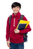 Student with backpack and handbook — Stock Photo