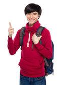 Studentský školní batoh a palec nahoru — Stock fotografie