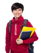 Student with school bag and handbook — Stock Photo