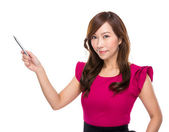 Mature businesswoman with pen up — 图库照片