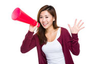 Girl yell with megaphone — Stock Photo