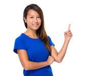 Asian woman with finger point up — Stock Photo