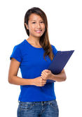 Asian woman with clipboard — Stock Photo