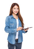 Woman hold with digital tablet — Stock Photo