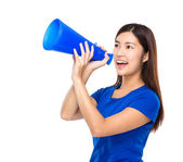 Woman shout with loudspeaker — Stock Photo