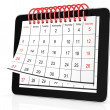Tablet computer with calendar — Stockfoto