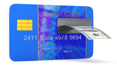 Credit card with cashmachine — Stock Photo