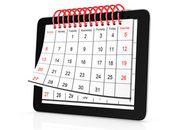 Tablet computer with calendar — Stock Photo