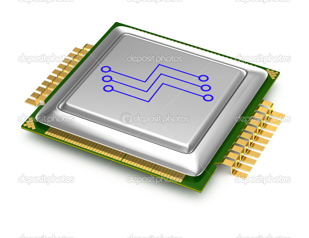 Computer processor isolated on white background. 3d render — Stock Photo #13187343