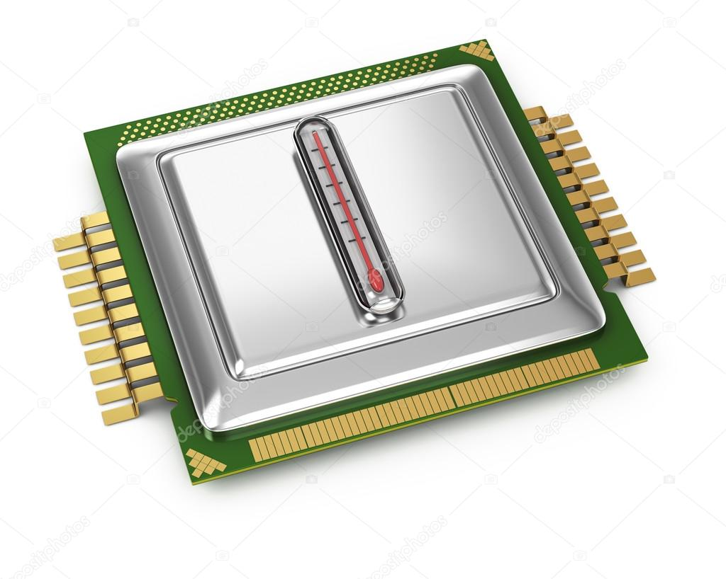 Processor with termometer isolated on white background. 3d render — Stock Photo #13187955