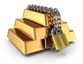 Locked gold bullions — Stock Photo