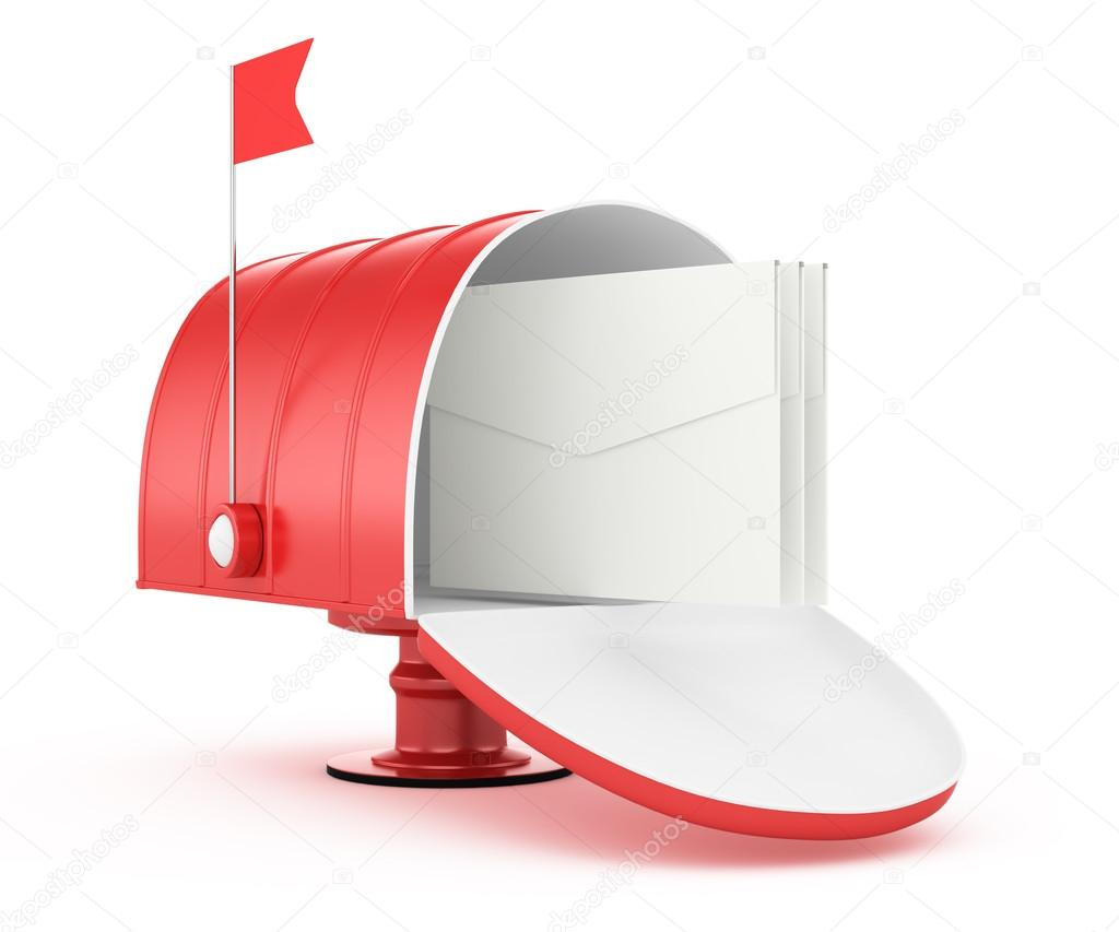 Red mailbox isolated on white background. 3d rendered image — Stock Photo #17855869