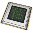 Computer chip with diagram — Stock Photo