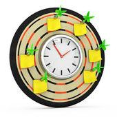 Dart tahtası ile saat ve yapışkan notlar — Stok fotoğraf