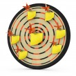 Dartboard with notes — Stock Photo