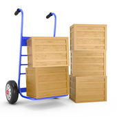 Blue hand truck with wooden boxes — Stock Photo