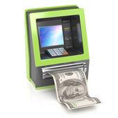 Cash machine with dollar bill — Stock Photo