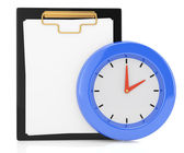 Clipboard and clock — Stok fotoğraf
