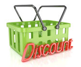 Shopping cart with discount inscription — Stock Photo
