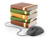 Computer mouse and stack of books — Stock Photo