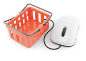 Shoping basket and computer mouse — Stock Photo