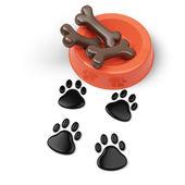 Pet food bowl and footprints — Stock Photo