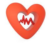 Corazón con gráfico cardiograma — Foto de Stock