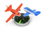 Airplanes and radar — Stock Photo