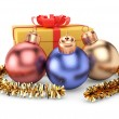 Christmas decorations and gift box — Stock Photo