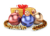 Christmas decorations and gift box — Stok fotoğraf