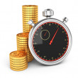 Stopwatch and coins — Foto de Stock